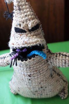 """Oogie Boogie (The Nightmare Before Christmas) About 10 inches tall when finished. Oogie's mouth is a pocket to stuff bugs into - Free Amigurumi Pattern - Click""""download"""" here: http://www.ravelry.com/patterns/library/oogie-boogie"""