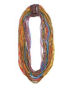 Another great find on #zulily! Teal & Coral Bead Multi-Strand Buckle Bib Necklace #zulilyfinds