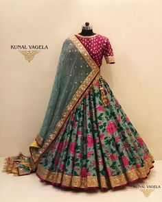 Grey pink brocade lehenga with maroon pink blouse, Party Wear Indian Dresses, Designer Party Wear Dresses, Indian Gowns Dresses, Indian Bridal Outfits, Indian Fashion Dresses, Dress Indian Style, Indian Designer Outfits, Fashion Outfits, Half Saree Designs