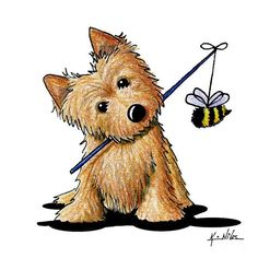 The Beekeeper Art Print by Kim Niles. All prints are professionally printed, packaged, and shipped within 3 - 4 business days. Choose from multiple sizes and hundreds of frame and mat options. Cairn Terriers, Terrier Dogs, Cute Drawings, Animal Drawings, Pach Aplique, Australian Terrier, Norwich Terrier, Dog Signs, Bee Keeping