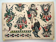 Vintage Tattoo Flash Spit Shade Antique Art Tthu Thats The