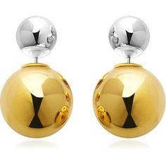 Metallic Dual Tone Double Sided Earrings ❤ liked on Polyvore featuring jewelry, earrings, 14k jewelry, two tone earrings, earring jewelry, 14k earrings and metallic jewelry