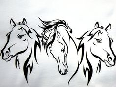 Items similar to Triple Horse Heads for Dolly and Me on Etsy Horse Stencil, Stencil Art, Wood Burning Patterns, Wood Burning Art, Horse Drawings, Art Drawings, Horse Head Drawing, Horse Tattoo Design, Horse Silhouette