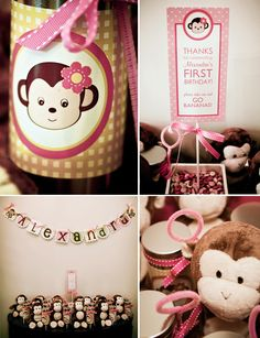 Pink monkey party ideas....for Bella...