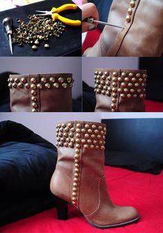 customização de bota com tachas