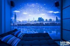Luminous Murals Adding Mystery and Originality to Modern Interior Design – Lushome Ceiling Design, Wall Design, Dark Ceiling, Dark Paintings, Glow Paint, Luminous Colours, 3d Studio, Classic Interior, Contemporary Interior Design