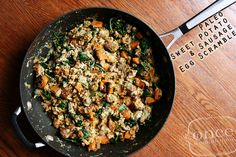 Paleo Sweet Potato and Sausage Egg Scramble | OAMC from Once A Month Mom
