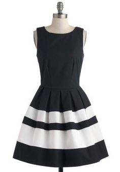 A Dreamboat Come True Dress in Navy, #ModCloth - navy and white...cannot get enough of these colors. If only I could be transported to wherever all of the Modcloth dresses hang out! Dress heaven!