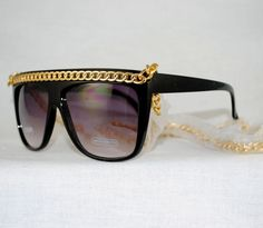 """Enchanting Jewelry Creations - """"Flat Top Chain-link Bridge Sunglasses w/Smoke lens"""". The gold chain converts as a """"necklace"""" to keep them handy! ($14.00) (http://stores.enchantingjewelrycreations.com/flat-top-chain-link-bridge-sunglasses-w-smoke-lens/)"""