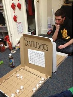 DIY battleshots from pizza boxes