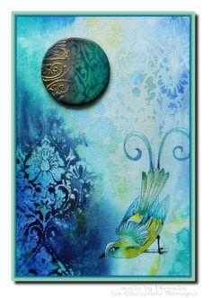 Blue bird on a Damask background (by Miranda)