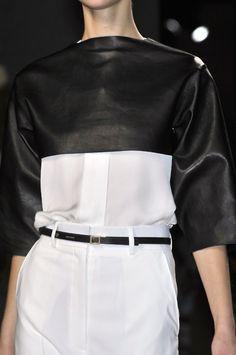 White shirt + black leather crop top; fashion details // Celine FW10