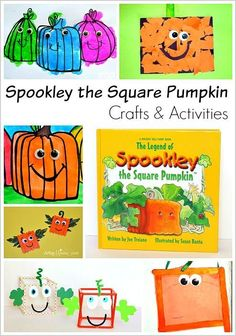 Crafts and Activities for Preschool, Kindergarten, and Grade inspired by the book, The Legend of Spookley the Square Pumpkin! (Perfect for Halloween and Fall!) (autumn activities for kids student) Halloween Books, Halloween Activities, Autumn Activities, Halloween Themes, Preschool Activities, Halloween Season, Toddler Book Activities, Halloween Crafts, Preschool Shapes