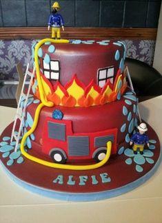 Cupcakes, Cupcake Cakes, Fireman Sam Cake, Fireman Party, Fire Engine Cake, Fire Fighter Cake, Fire Cake, 4th Birthday Cakes, Themed Cakes