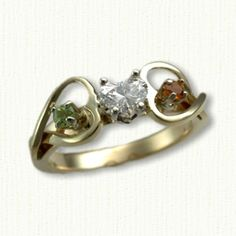 14kt Celtic Twin Hearts Engagement Ring set with Heart Shaped Diamond & Side Peridot & Citrine