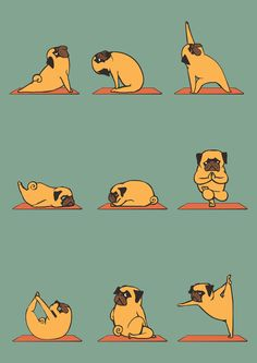 Pug Yoga Art Print #dog #funny #cute