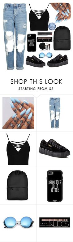 """""""💙"""" by jasemin2607 ❤ liked on Polyvore featuring Topshop, Boohoo, Puma, Rains, Casetify, Revo, Chanel and Charlotte Russe"""