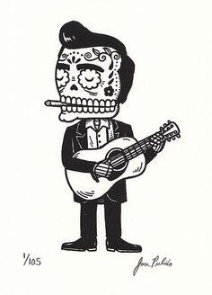 Awesome design of a Dias de la muertos Johnny cash.