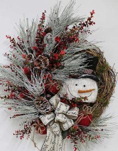 Christmas DIY: Christmas wreath Ide Christmas wreath Ideas for new season Grapevine Christmas, Christmas Swags, Holiday Wreaths, Winter Christmas, All Things Christmas, Holiday Crafts, Winter Wreaths, Winter Things, Christmas Flowers