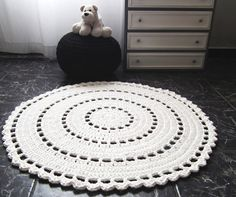 Large White Crochet Round Rug - White Crochet Doily Rug - Nursery Decor Rug - Baby Shower Gifts - White Pearl Floor Rug - Eco Friendly Crochet Home Decor Made to order - Holiday Mode - Please check my shop annoucement the timeframe to ship it https://www.etsy.com/shop/LoopingHome All copyrights belong to Looping Home © High quality product 100% handmade Beautiful crochet rug made in a white ribbon yarn, this doily will delight any room of your home and is perfect for nurseries. A wonderful…