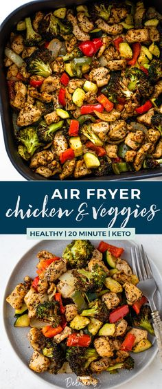 This nutritious air fryer chicken and veggies recipe is so EASY to make and full of flavor. It makes a complete and healthy low-carb or keto meal in under 20 minutes! Air Fryer Oven Recipes, Air Frier Recipes, Air Fryer Dinner Recipes, Air Fryer Chicken Recipes, Chicken And Veggie Recipes, Air Fried Vegetable Recipes, Air Fryer Recipes Vegetables, Veggie Recipes Healthy, Zoodle Recipes