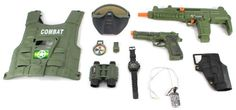 Combat Force Army Friction Toy Gun Complete Combo Set w/ Friction SMG, Army Vest, Mask, Dog Tags, Toy Pistol, Holster, Binoculars, Whistle, & Mock Compass Toy Gun Playsets http://www.amazon.com/dp/B00JRDCMCA/ref=cm_sw_r_pi_dp_p4Jvub01RK5BH