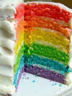 Rainbow cake.  My mom made ones like this, but more pastel, from the time I was a toddler.