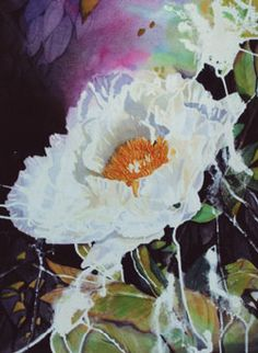 How to use masking fluid to paint white peoniesl