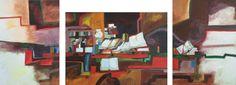 Título: Naturaleza muerta con libros  Autor: Alvaro Galindo Vácha  Dimensiones: Tríptico 30 x 40 cm - 45 x 32.5 - 30 x 40 cm  Técnica: Óleo sobre tela  Año: 1996  Firmado: Frente y Revés