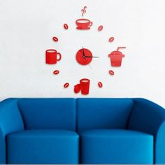 Cup Pattern DIY Wall Clock - RED