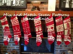 christmas stockings knitting mix and match pattern and seven charts choose colors over variations personalize