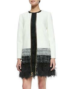 Milly Zip-Front Feather-Trim Jacket