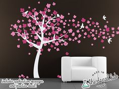 Cute White Cherry Blossom Tree blowing in the wind by DecalLab, $97.00