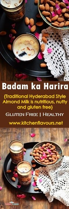 Badam ka Harira (Hareera) | Almond Drink is a traditional Hyderabadi recipe which is mostly made during winters to keep the body warm and nourished. #yummyfood #tasty #homemade #homecooking #delicious #myfood #almonds #nutritious #healthy #almonddrink #winter #traditional #makeittoday #trytoday #pinterest Indian Beef Recipes, Halal Recipes, My Recipes, Vegetarian Recipes, Snack Recipes, Snacks Ideas, Favorite Recipes, Amazing Recipes, Ramadan Food