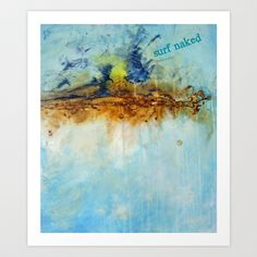 surf naked Art Print by Deb Haugen - $24.96