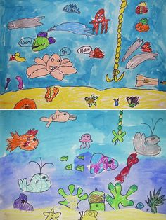 2nd Grade Art with Mrs. Brown--Under the Sea Coral Reef Biome