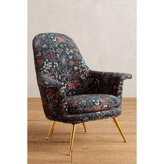 Anthropologie Sylvania-Printed Kimball Chair ($1,998) ❤ liked on Polyvore featuring home, furniture, chairs, dining chairs, blue motif, anthropologie chair, 1960s furniture, brass furniture, brass dining chairs and 60s furniture