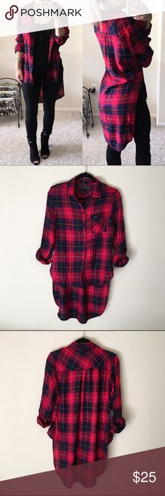 Hi-low plaid button-up shirt Red & blue plaid hi-low button up shirt Size large, but I'm a size small and it still looks fine on me! Just a little oversized :) Brand new, never been worn.  Made of 100% rayon.  Measurements: back length 37.5 inches, front length 23.5 inches, sleeve length 23.5 inches (can be rolled up to be shorter) Polly & Esther Tops Button Down Shirts