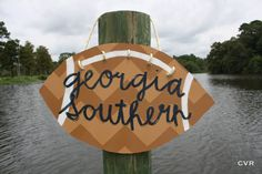 Football Wooden Door Hanger Georgia Southern by ChevvyandRons, $50.00