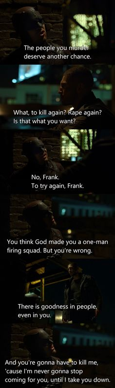 Daredevil and The Punisher had so many fantastic dialogues in this episode.