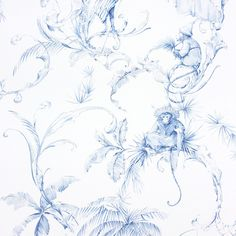 Nina Campbell Barbary Toile Wallpaper - NCW4205-03 ($91) ❤ liked on Polyvore featuring home, home decor, wallpaper, blue, pattern wallpaper, toile wallpaper, blue wallpaper, nina campbell and blue screen