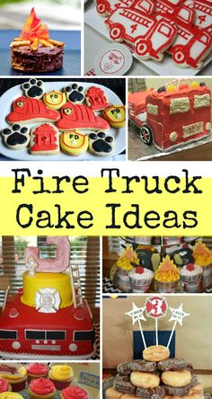 Fire truck cake ideas - so many fire engine cakes, fire engines biscuits, fire cake pops, fireman sam cakes and more! Brilliant for little boys birthday parties