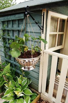 One more...  http://littlegreenfingers.typepad.com/little_green_fingers/2009/06/planting-a-colander-hanging-basket.html