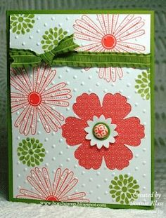 handmade card  ...  hand-stamped background paper ... Mixed Bunch flowers ... one die cut ... all embedded with embossing folder dots ... luv the olive and red-orange color scheme ... Stampin' Up!