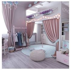 These Girl's Bedroom Ideas Are A Must See! Clever Play Space Solutions and Beautiful Designs Create the Perfect Bedroom For Your Girls! Bunk Beds For Girls Room, Bedroom Decor For Teen Girls, Cute Bedroom Ideas, Cute Bedroom Decor, Room Ideas Bedroom, Awesome Bedrooms, Bed Ideas, Curtains For Girls Bedroom, Bed With Curtains