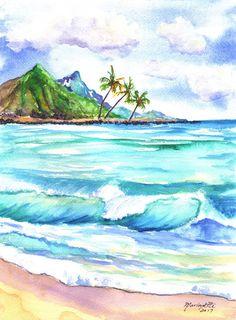 kauai north shore  beach original watercolor painting Ocean Wave Painting, Beach Scene Painting, Seascape Paintings, Watercolor Paintings, Beach Paintings, North Shore Beaches, Arches Watercolor Paper, Garden Wall Art, Hawaiian Art