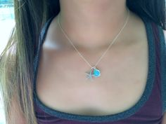 925 sterling Silver Starfish NecklaceMint by LetItBeLove on Etsy