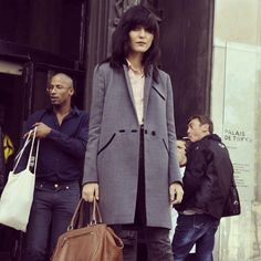 Model Irina Lazareanu in Whistles Tux Coat at Paris Fashion Week!