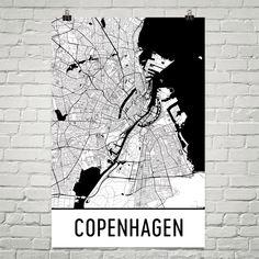 ДАНИЯ, КОПЕНГАГЕН Copenhagen Map Art Print, Copenhagen Denmark Art Poster, Copenhagen Wall Art, Map of Copenhagen, Print, Gift, Birthday, Decor, Modern, Art
