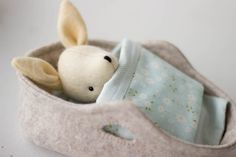 Wee ready-made rabbit in felt Moses bed available to purchase from www.mayblossom.com.au
